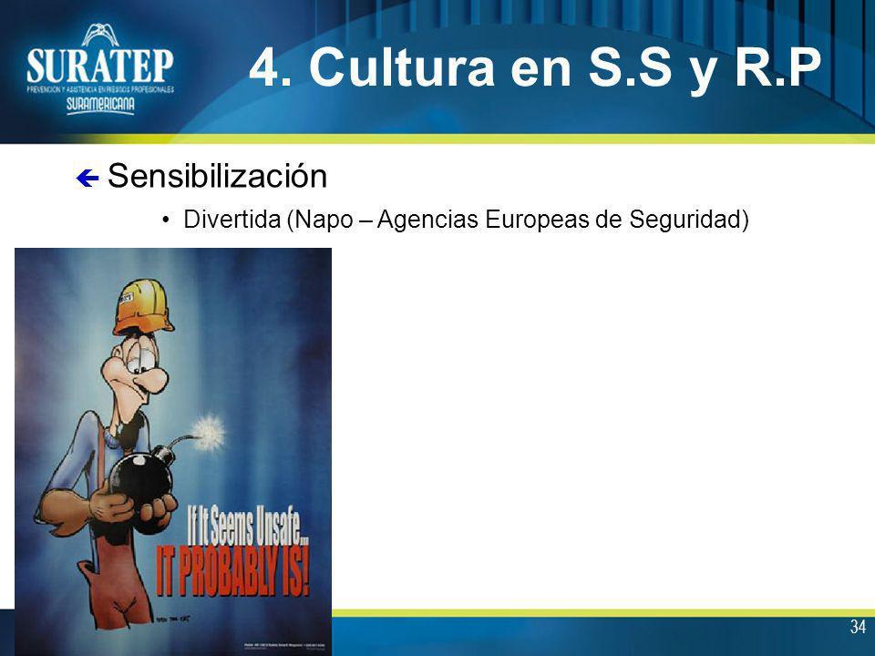 34 4. Cultura en S.S y R.P Divertida (Napo – Agencias Europeas de Seguridad) ç Sensibilización