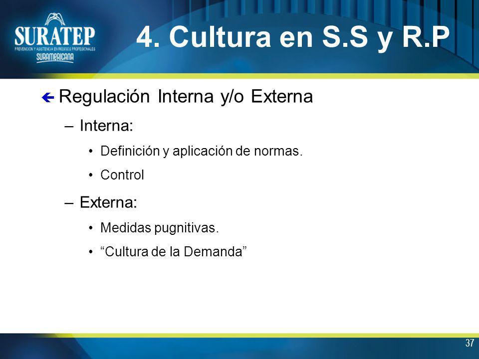 37 4. Cultura en S.S y R.P ç Regulación Interna y/o Externa –Interna: Definición y aplicación de normas. Control –Externa: Medidas pugnitivas. Cultura