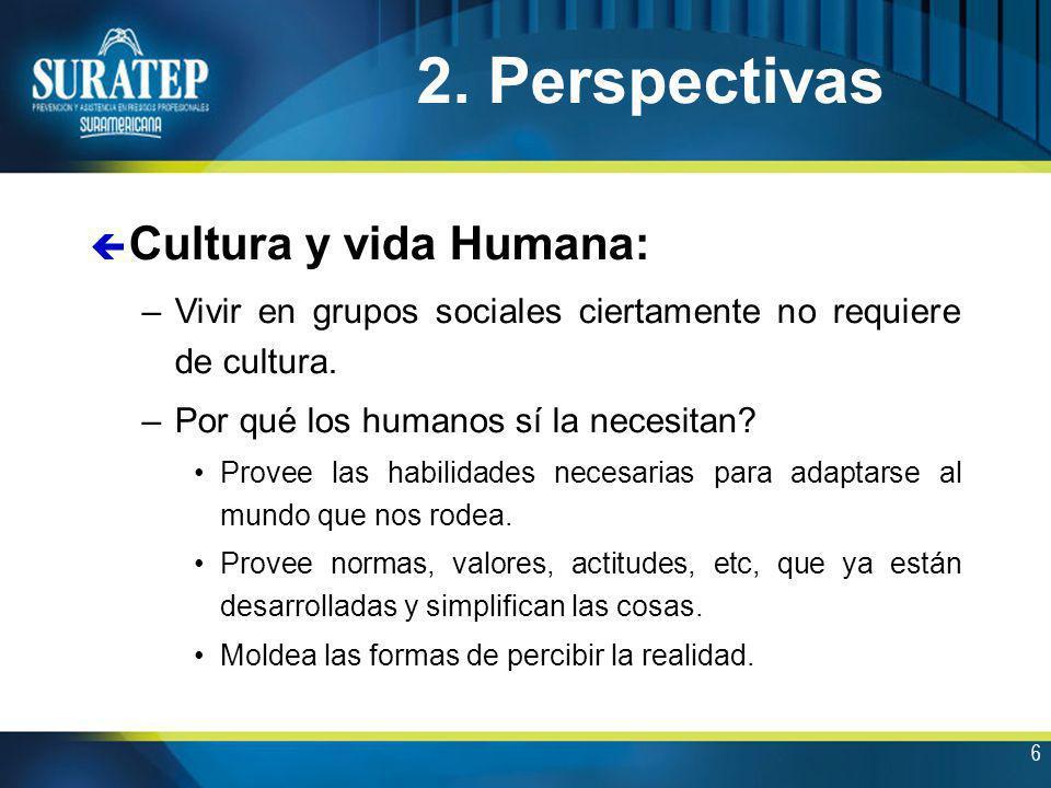 6 ç Cultura y vida Humana: –Vivir en grupos sociales ciertamente no requiere de cultura. –Por qué los humanos sí la necesitan? Provee las habilidades