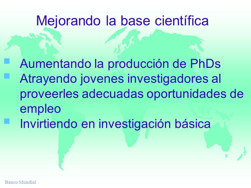 Banco Mundial Aumentando la producción de PhDs Atrayendo jovenes investigadores al proveerles adecuadas oportunidades de empleo Invirtiendo en investigación básica Mejorando la base científica