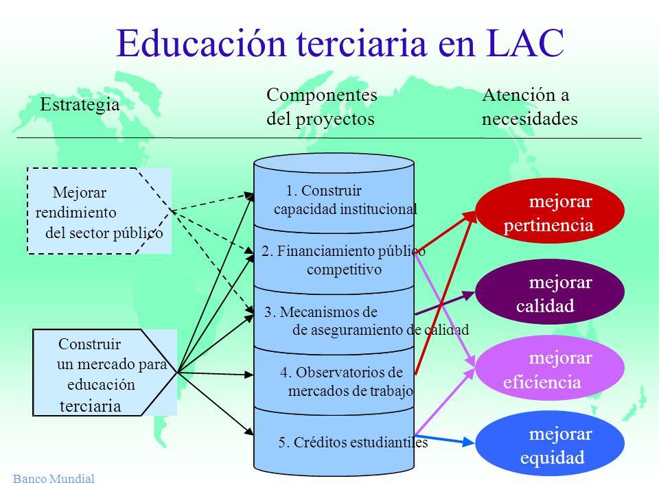 Banco Mundial Educación terciaria en LAC Componentes del proyectos Estrategia Atención a necesidades Construir un mercado para educación terciaria Mejorar rendimiento del sector público 5.