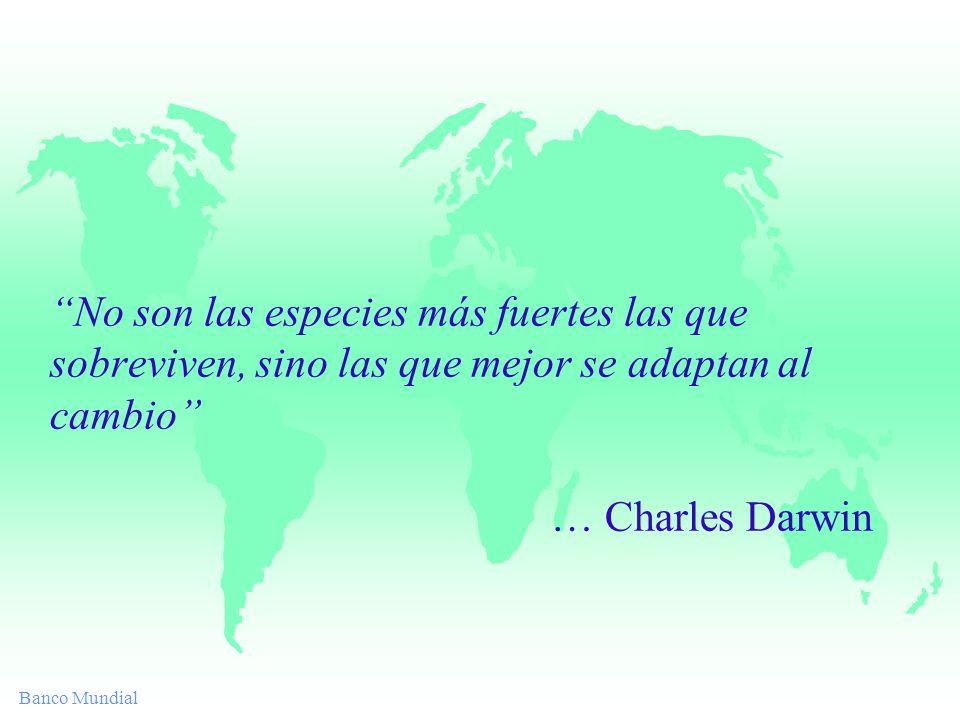 Banco Mundial No son las especies más fuertes las que sobreviven, sino las que mejor se adaptan al cambio … Charles Darwin