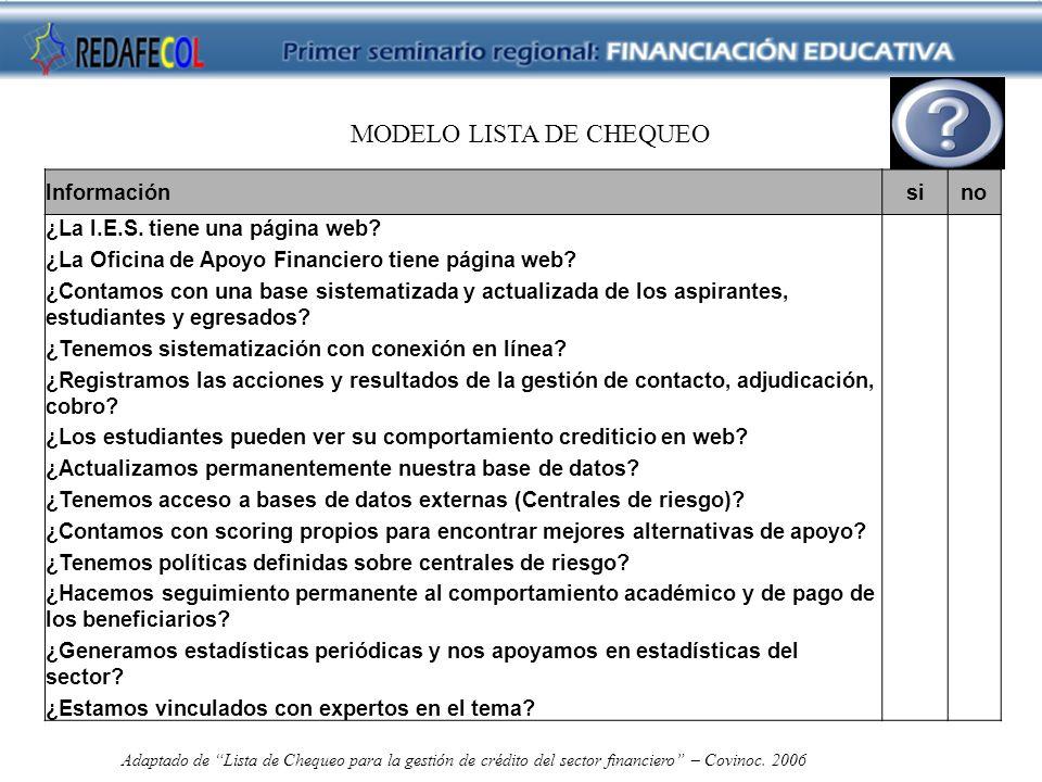 MODELO LISTA DE CHEQUEO Informaciónsino ¿La I.E.S.
