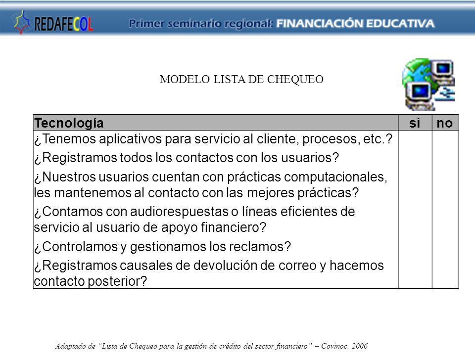 MODELO LISTA DE CHEQUEO Tecnologíasino ¿Tenemos aplicativos para servicio al cliente, procesos, etc..