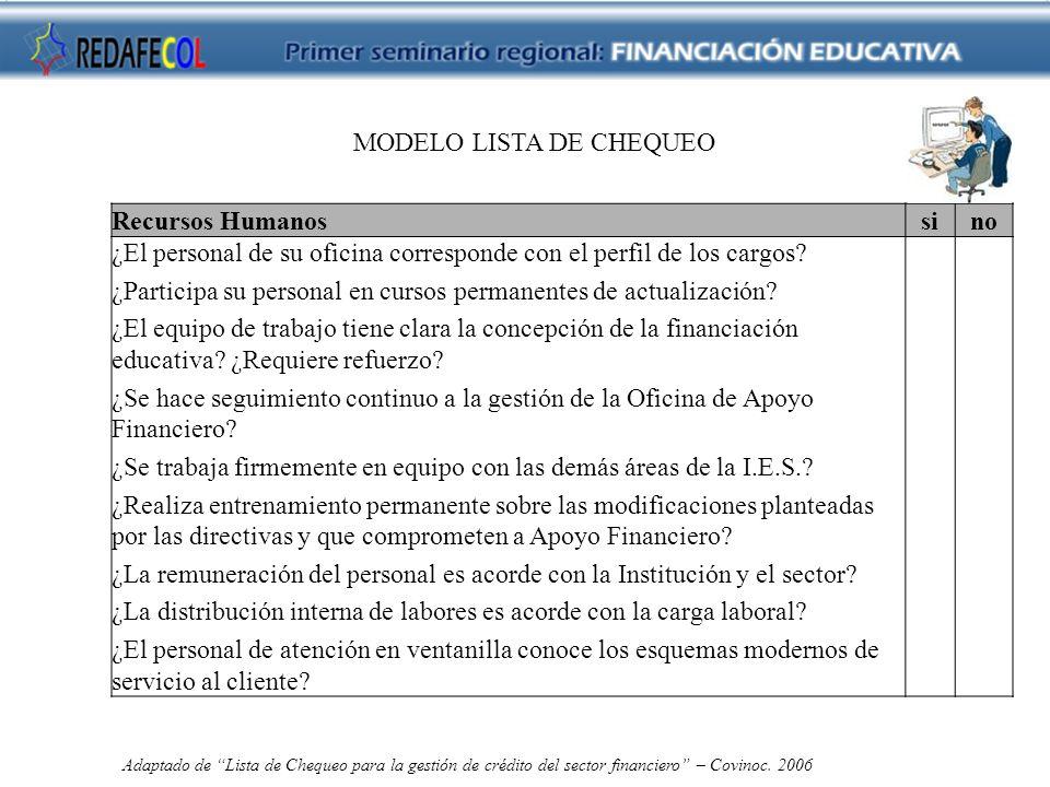 MODELO LISTA DE CHEQUEO Recursos Humanossino ¿El personal de su oficina corresponde con el perfil de los cargos.