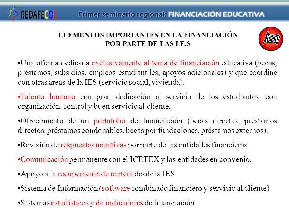 ELEMENTOS IMPORTANTES EN LA FINANCIACIÓN POR PARTE DE LAS I.E.S Una oficina dedicada exclusivamente al tema de financiación educativa (becas, préstamos, subsidios, empleos estudiantiles, apoyos adicionales) y que coordine con otras áreas de la IES (servicio social, vivienda).