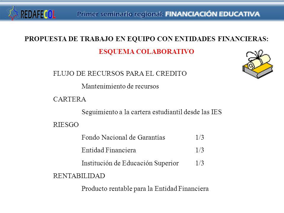 PROPUESTA DE TRABAJO EN EQUIPO CON ENTIDADES FINANCIERAS: ESQUEMA COLABORATIVO FLUJO DE RECURSOS PARA EL CREDITO Mantenimiento de recursos CARTERA Seguimiento a la cartera estudiantil desde las IES RIESGO Fondo Nacional de Garantías1/3 Entidad Financiera1/3 Institución de Educación Superior 1/3 RENTABILIDAD Producto rentable para la Entidad Financiera