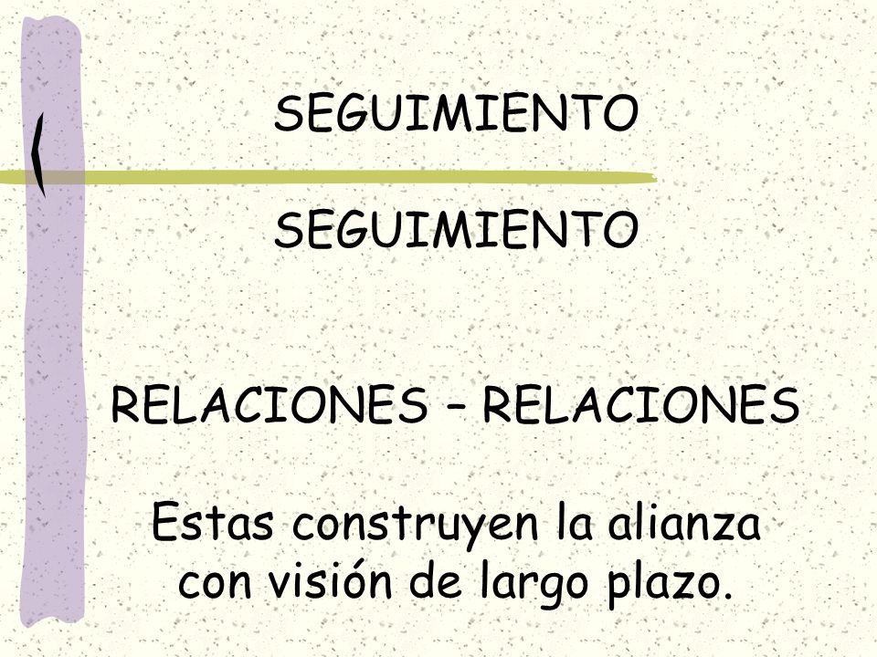 SEGUIMIENTO RELACIONES – RELACIONES Estas construyen la alianza con visión de largo plazo.