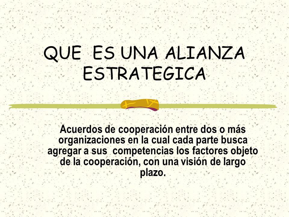 QUE ES UNA ALIANZA ESTRATEGICA Acuerdos de cooperación entre dos o más organizaciones en la cual cada parte busca agregar a sus competencias los facto