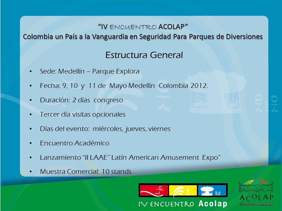 IV ENCUENTRO ACOLAP Colombia un País a la Vanguardia en Seguridad Para Parques de Diversiones Estructura General Sede: Medellín – Parque Explora Fecha: 9, 10 y 11 de Mayo Medellín Colombia 2012.