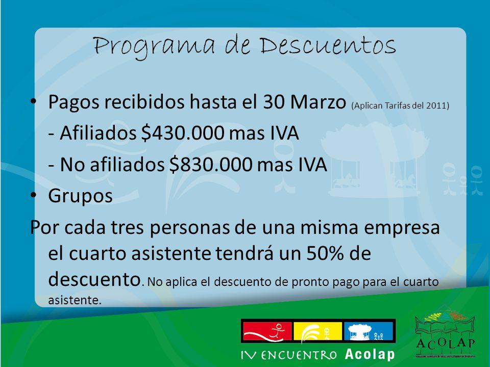 Programa de Descuentos Pagos recibidos hasta el 30 Marzo (Aplican Tarifas del 2011) - Afiliados $430.000 mas IVA - No afiliados $830.000 mas IVA Grupo