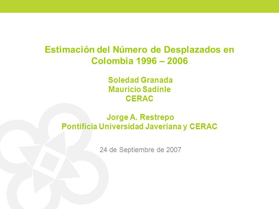 Estimación del Número de Desplazados en Colombia 1996 – 2006 Soledad Granada Mauricio Sadinle CERAC Jorge A. Restrepo Pontificia Universidad Javeriana