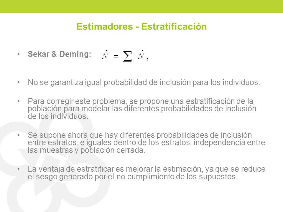 Estimadores - Estratificación Sekar & Deming: No se garantiza igual probabilidad de inclusión para los individuos. Para corregir este problema, se pro
