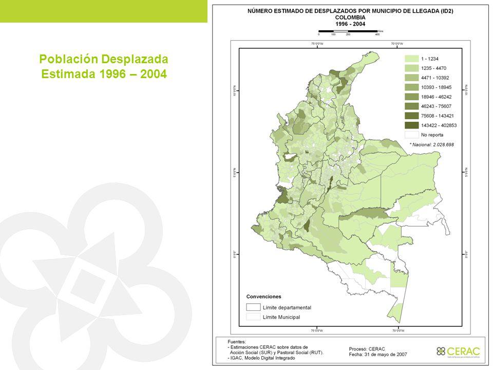 Población Desplazada Estimada 1996 – 2004