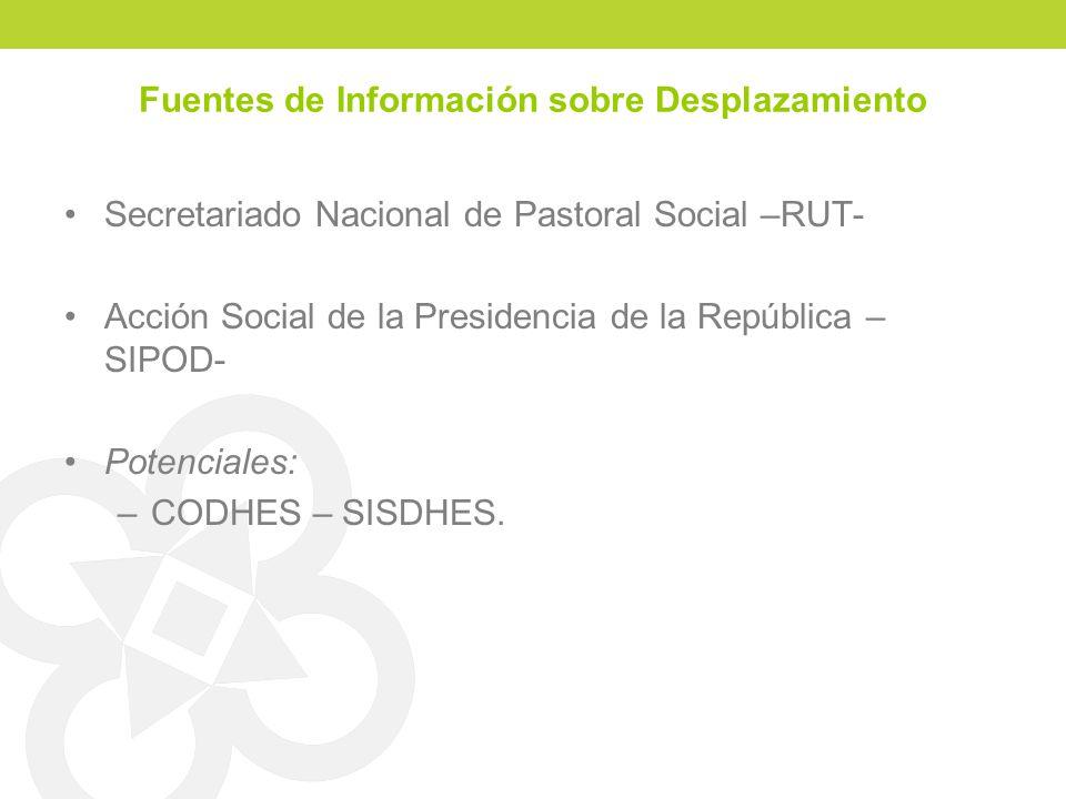 Fuentes de Información sobre Desplazamiento Secretariado Nacional de Pastoral Social –RUT- Acción Social de la Presidencia de la República – SIPOD- Po