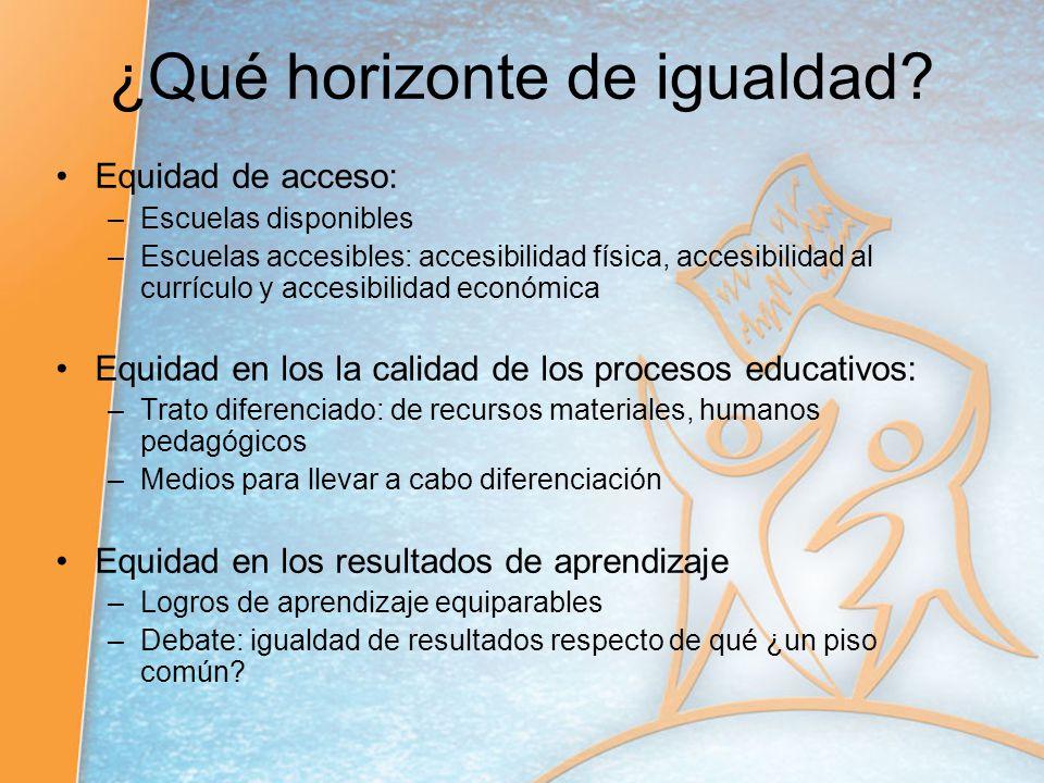 ¿Qué horizonte de igualdad? Equidad de acceso: –Escuelas disponibles –Escuelas accesibles: accesibilidad física, accesibilidad al currículo y accesibi