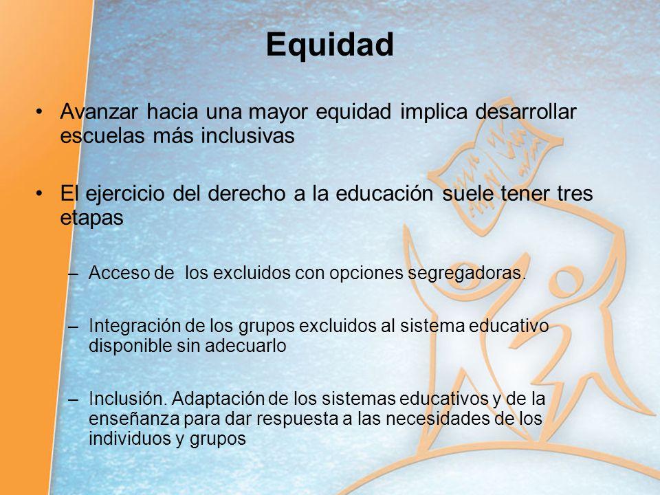 Equidad Avanzar hacia una mayor equidad implica desarrollar escuelas más inclusivas El ejercicio del derecho a la educación suele tener tres etapas –A