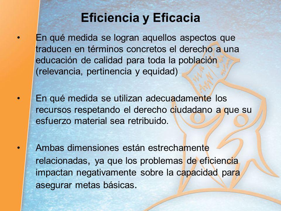 Eficiencia y Eficacia En qué medida se logran aquellos aspectos que traducen en términos concretos el derecho a una educación de calidad para toda la