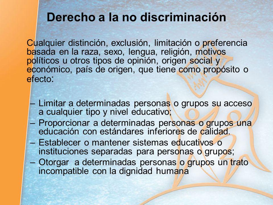 Derecho a la no discriminación Cualquier distinción, exclusión, limitación o preferencia basada en la raza, sexo, lengua, religión, motivos políticos