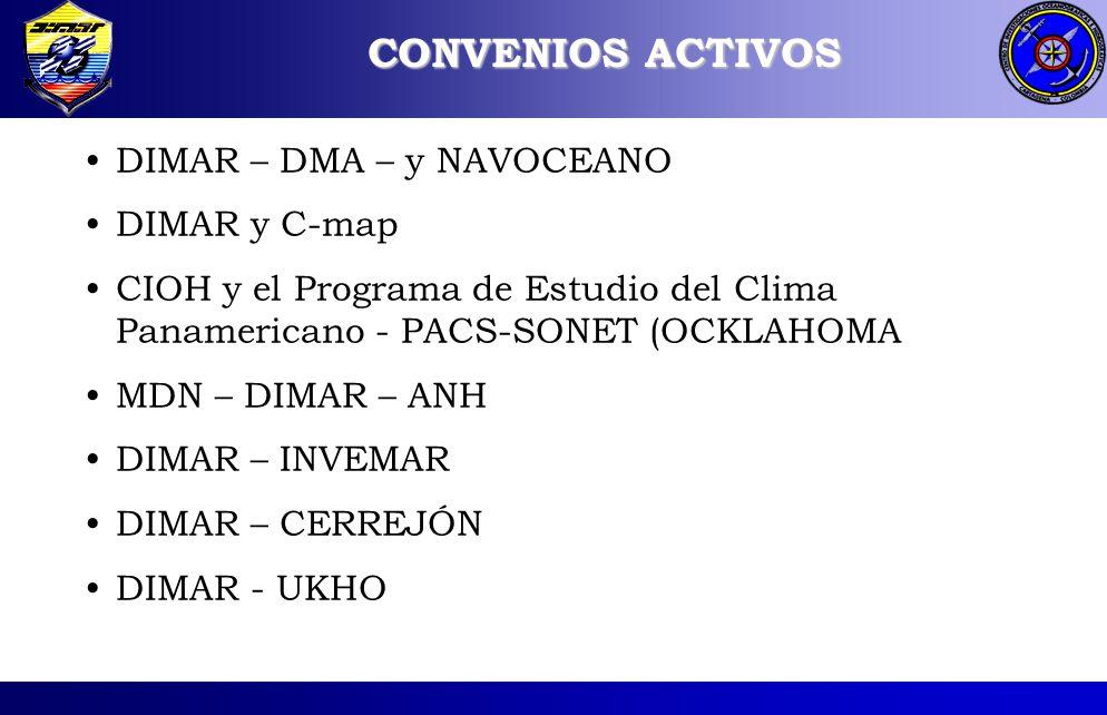 CONVENIOS ACTIVOS DIMAR – DMA – y NAVOCEANO DIMAR y C-map CIOH y el Programa de Estudio del Clima Panamericano - PACS-SONET (OCKLAHOMA MDN – DIMAR – ANH DIMAR – INVEMAR DIMAR – CERREJÓN DIMAR - UKHO