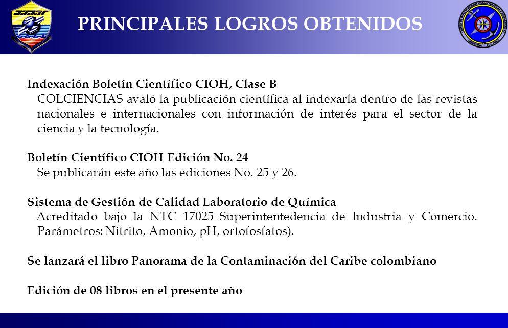 PRINCIPALES LOGROS OBTENIDOS Indexación Boletín Científico CIOH, Clase B COLCIENCIAS avaló la publicación científica al indexarla dentro de las revist