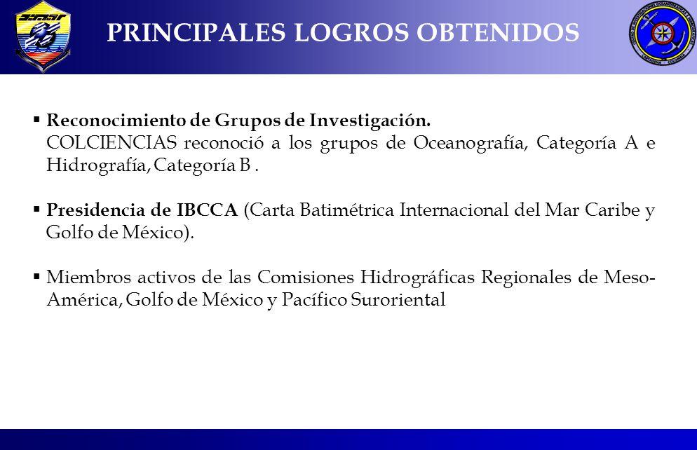 PRINCIPALES LOGROS OBTENIDOS Reconocimiento de Grupos de Investigación.