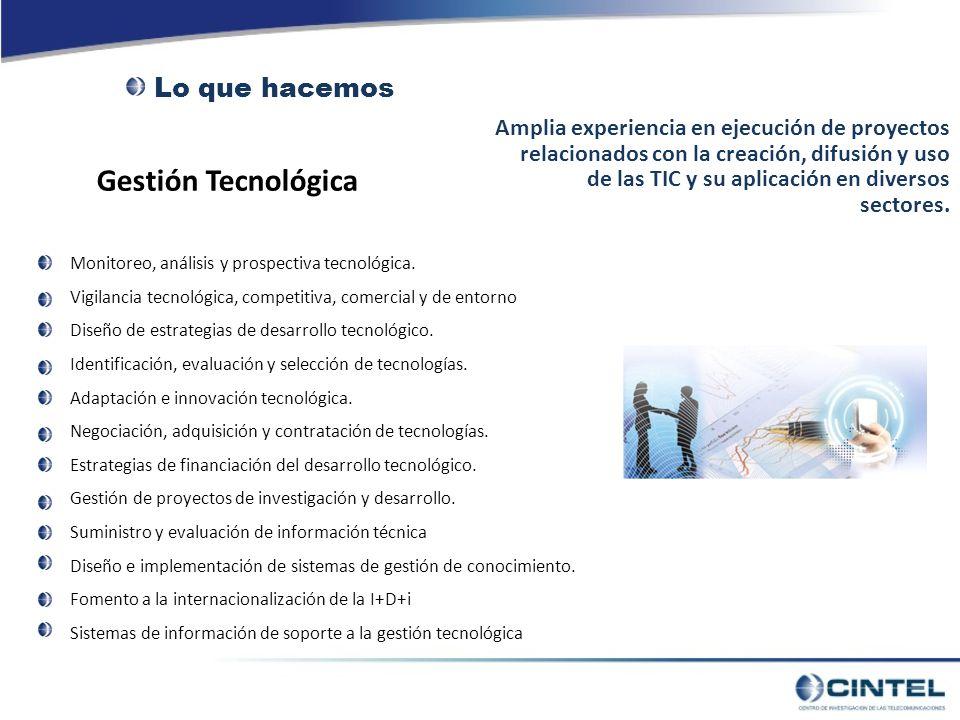 Gestión Tecnológica Amplia experiencia en ejecución de proyectos relacionados con la creación, difusión y uso de las TIC y su aplicación en diversos sectores.
