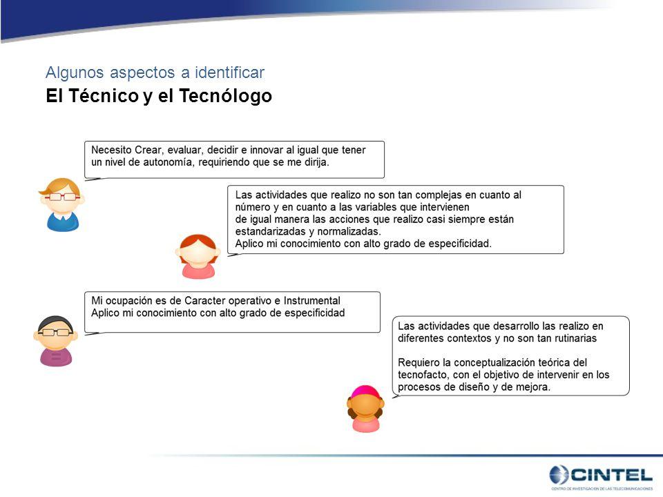 Algunos aspectos a identificar El Técnico y el Tecnólogo