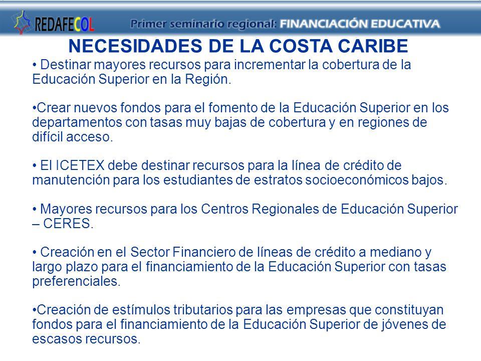 NECESIDADES DE LA COSTA CARIBE Destinar mayores recursos para incrementar la cobertura de la Educación Superior en la Región.