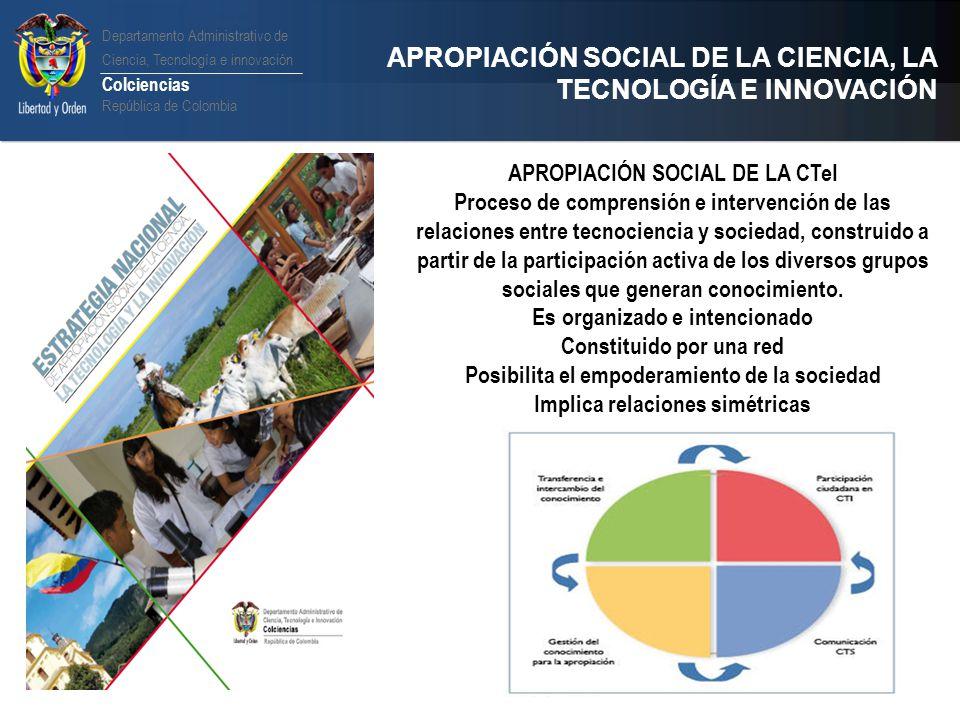 Departamento Administrativo de Ciencia, Tecnología e innovación Colciencias República de Colombia APROPIACIÓN SOCIAL DE LA CIENCIA, LA TECNOLOGÍA E IN