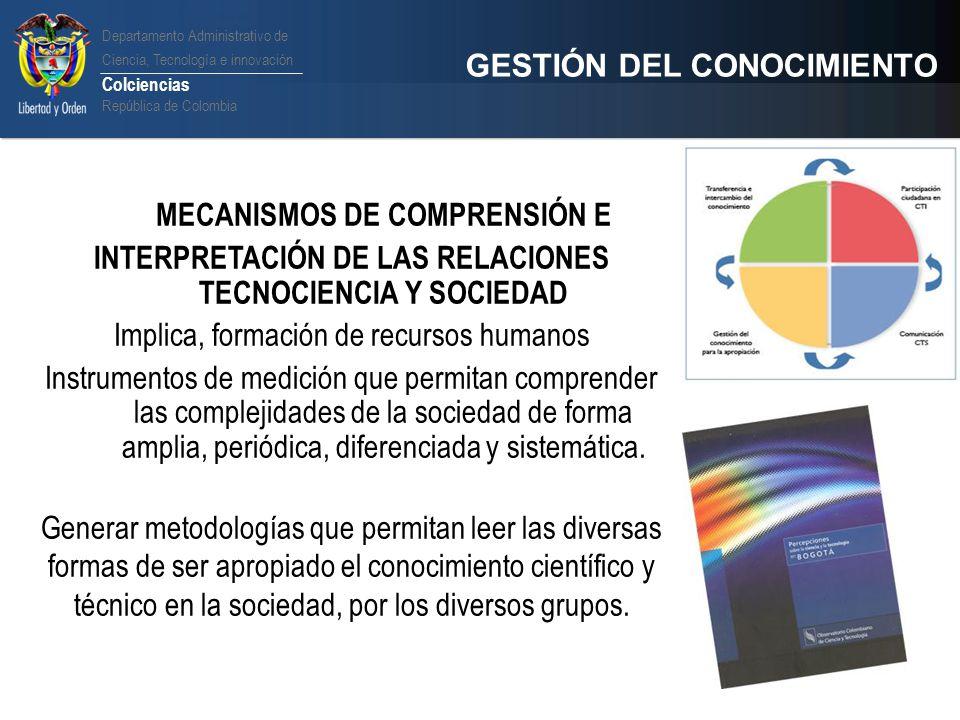 Departamento Administrativo de Ciencia, Tecnología e innovación Colciencias República de Colombia GESTIÓN DEL CONOCIMIENTO MECANISMOS DE COMPRENSIÓN E