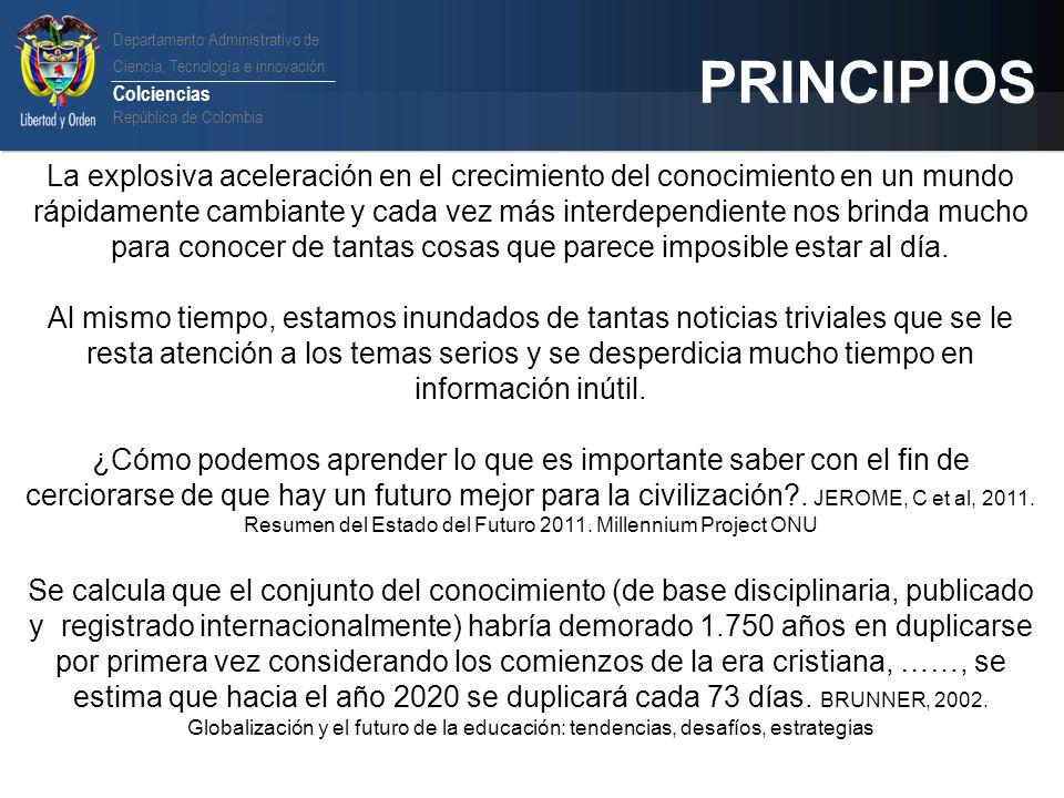 Departamento Administrativo de Ciencia, Tecnología e innovación Colciencias República de Colombia PRINCIPIOS. La explosiva aceleración en el crecimien