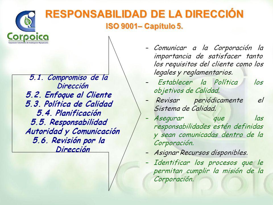 RESPONSABILIDAD DE LA DIRECCIÓN ISO 9001– Capítulo 5. –Comunicar a la Corporación la importancia de satisfacer tanto los requisitos del cliente como l