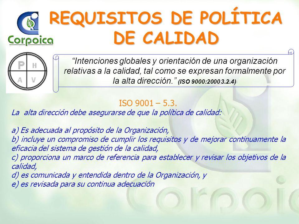 REQUISITOS DE POLÍTICA DE CALIDAD ISO 9001 – 5.3. La alta dirección debe asegurarse de que la política de calidad: a) Es adecuada al propósito de la O