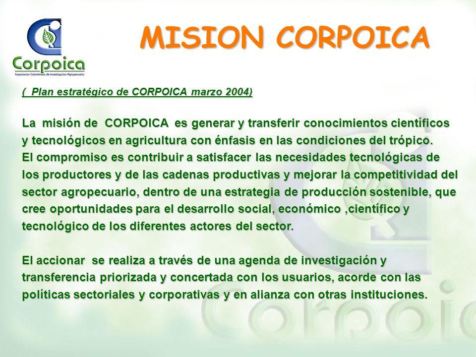 ( Plan estratégico de CORPOICA marzo 2004) La misión de CORPOICA es generar y transferir conocimientos científicos y tecnológicos en agricultura con é