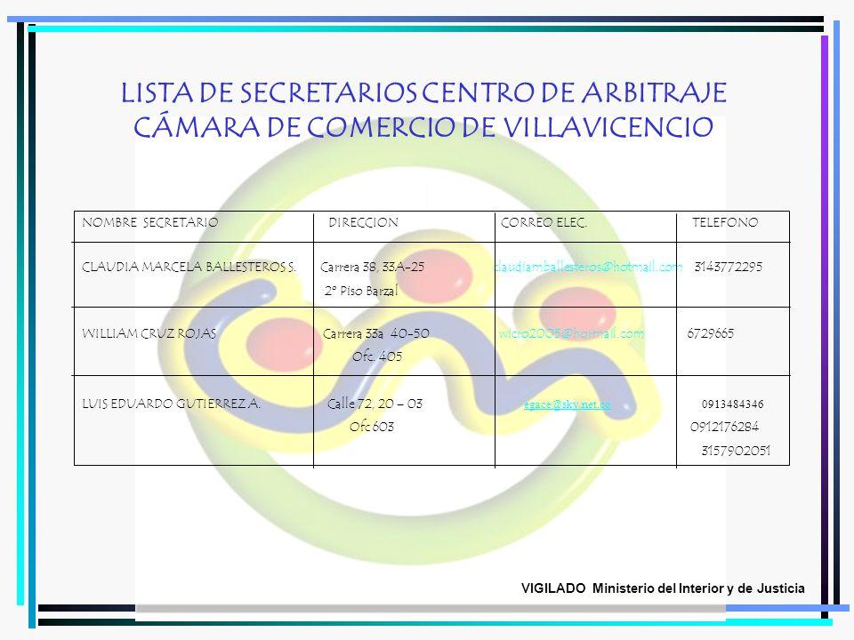 LISTA DE SECRETARIOS CENTRO DE ARBITRAJE CÁMARA DE COMERCIO DE VILLAVICENCIO NOMBRE SECRETARIO DIRECCION CORREO ELEC. TELEFONO CLAUDIA MARCELA BALLEST