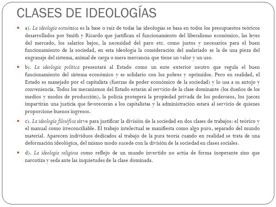 CLASES DE IDEOLOGÍAS a). La ideología económica es la base o raíz de todas las ideologías se basa en todos los presupuestos teóricos desarrollados por