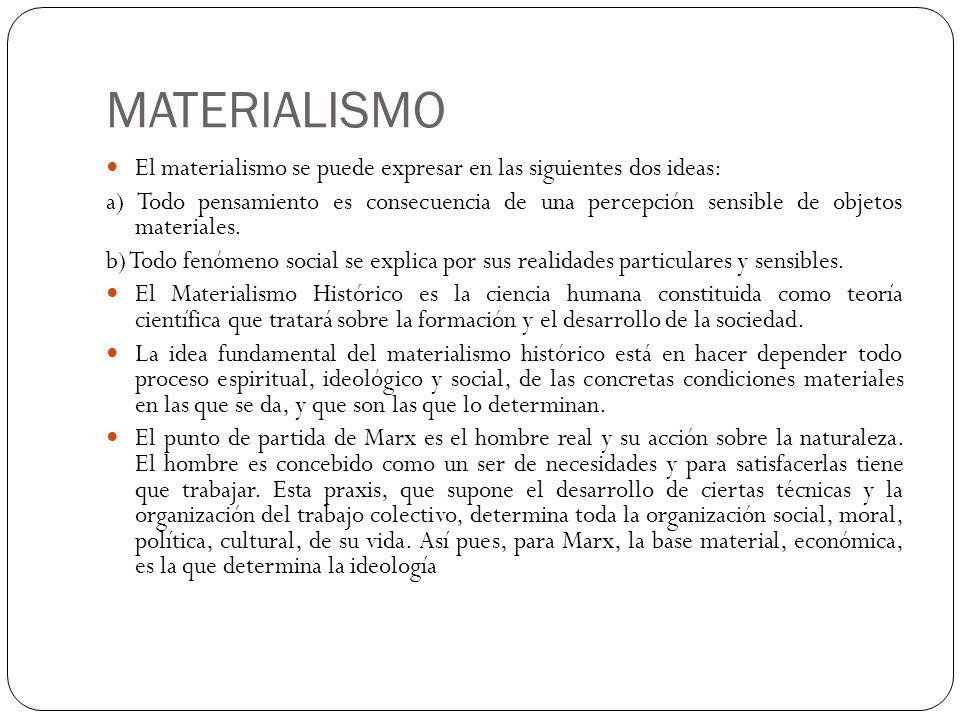 MATERIALISMO El materialismo se puede expresar en las siguientes dos ideas: a) Todo pensamiento es consecuencia de una percepción sensible de objetos
