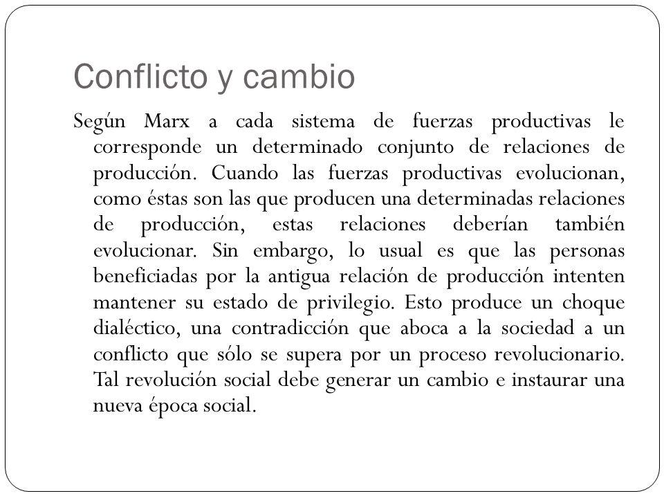 Conflicto y cambio Según Marx a cada sistema de fuerzas productivas le corresponde un determinado conjunto de relaciones de producción. Cuando las fue