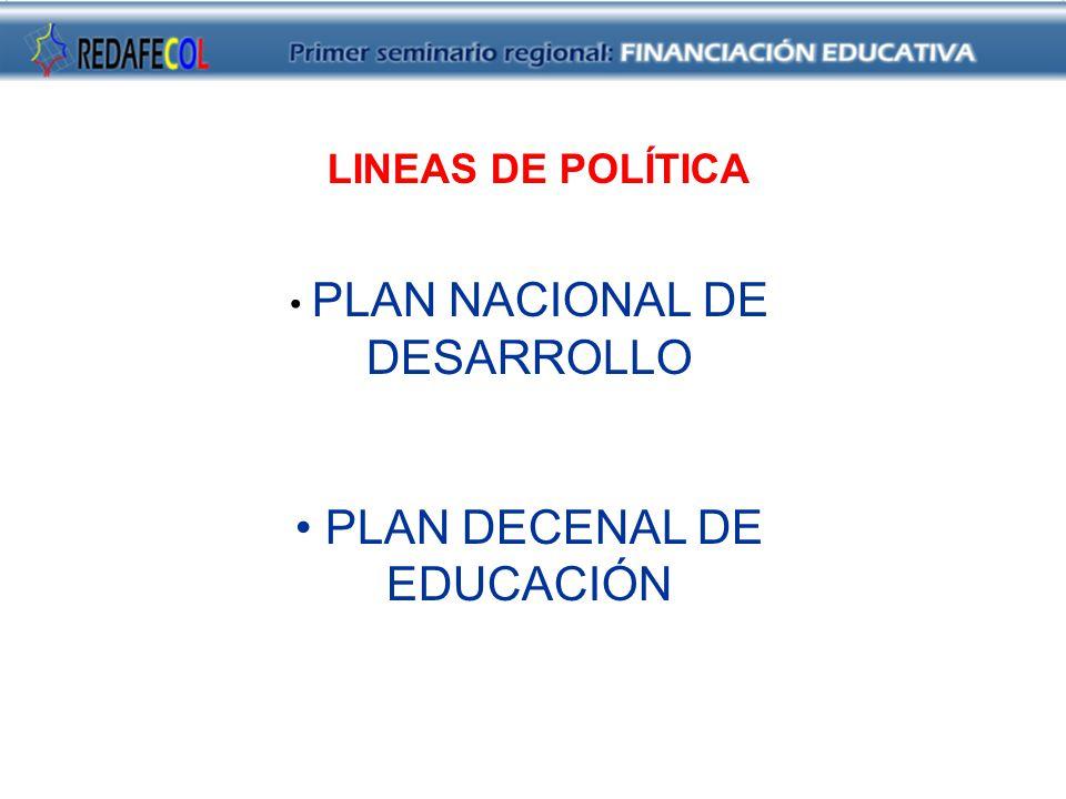 PLAN NACIONAL DE DESARROLLO PLAN DECENAL DE EDUCACIÓN LINEAS DE POLÍTICA