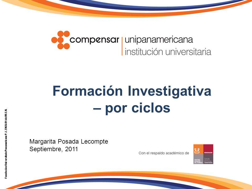 Formación Investigativa – por ciclos Fundación Universitaria Panamericana P.J. 23635/81 del M.E.N. Margarita Posada Lecompte Septiembre, 2011