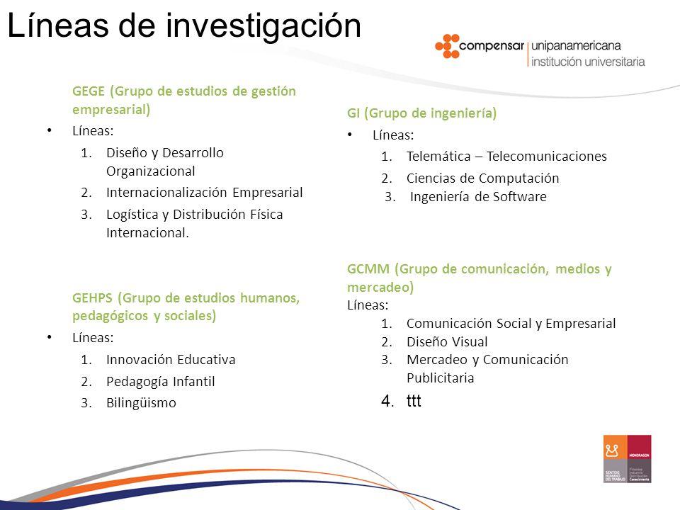 GEGE (Grupo de estudios de gestión empresarial) Líneas: 1.Diseño y Desarrollo Organizacional 2.Internacionalización Empresarial 3.Logística y Distribu