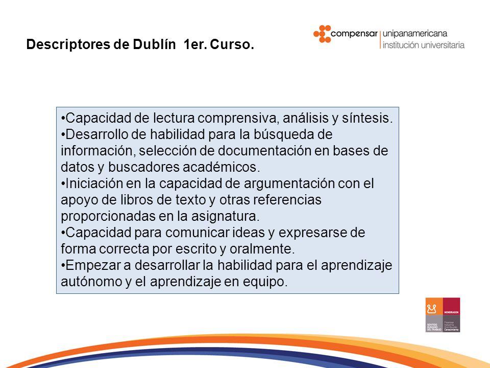 Capacidad de lectura comprensiva, análisis y síntesis. Desarrollo de habilidad para la búsqueda de información, selección de documentación en bases de