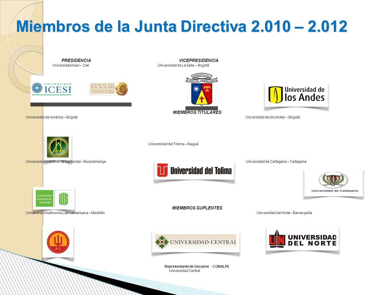 Miembros de la Junta Directiva 2.010 – 2.012 PRESIDENCIA VICEPRESIDENCIA Universidad Icesi – Cali Universidad de La Salle – Bogotá MIEMBROS TITULARES