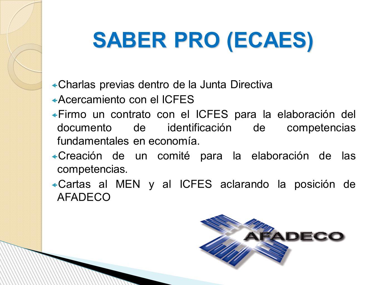 SABER PRO (ECAES) Charlas previas dentro de la Junta Directiva Acercamiento con el ICFES Firmo un contrato con el ICFES para la elaboración del documento de identificación de competencias fundamentales en economía.