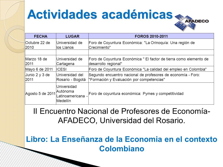 Actividades académicas FECHALUGARFOROS 2010-2011 Octubre 22 de 2010 Universidad de los Llanos Foro de Coyuntura Económica: La Orinoquía: Una región de Crecimiento Marzo 18 de 2011 Universidad de Cartagena Foro de Coyuntura Económica El factor de tierra como elemento de desarrollo regional Mayo 6 de 2011ICESIForo de Coyuntura Económica La calidad del empleo en Colombia Junio 2 y 3 de 2011 Universidad del Rosario - Bogotá Segundo encuentro nacional de profesores de economía - Foro: Formación y Evaluación por competencias Agosto 5 de 2011 Universidad Autónoma Latinoamericana - Medellín Foro de coyuntura económica: Pymes y competitividad II Encuentro Nacional de Profesores de Economía- AFADECO, Universidad del Rosario.