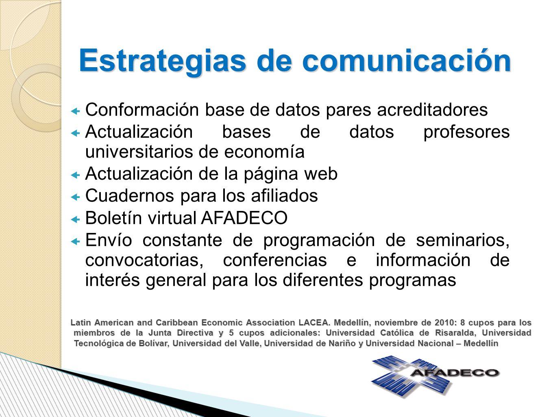 Estrategias de comunicación Conformación base de datos pares acreditadores Actualización bases de datos profesores universitarios de economía Actualiz