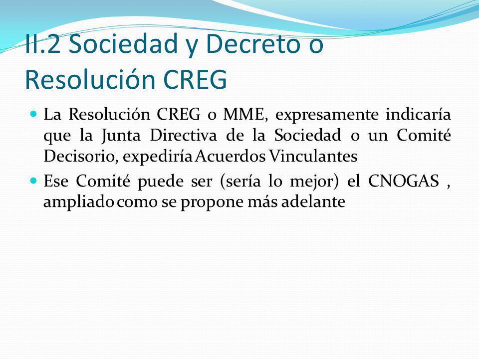 II.2 Sociedad y Decreto o Resolución CREG La Resolución CREG o MME, expresamente indicaría que la Junta Directiva de la Sociedad o un Comité Decisorio, expediría Acuerdos Vinculantes Ese Comité puede ser (sería lo mejor) el CNOGAS, ampliado como se propone más adelante