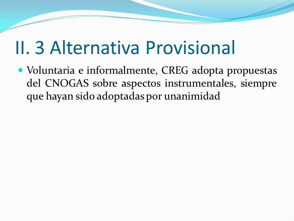 II. 3 Alternativa Provisional Voluntaria e informalmente, CREG adopta propuestas del CNOGAS sobre aspectos instrumentales, siempre que hayan sido adop