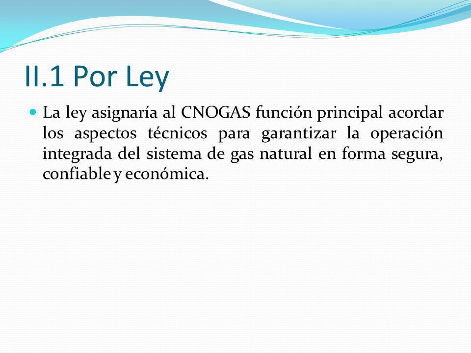 II.1 Por Ley La ley asignaría al CNOGAS función principal acordar los aspectos técnicos para garantizar la operación integrada del sistema de gas natural en forma segura, confiable y económica.